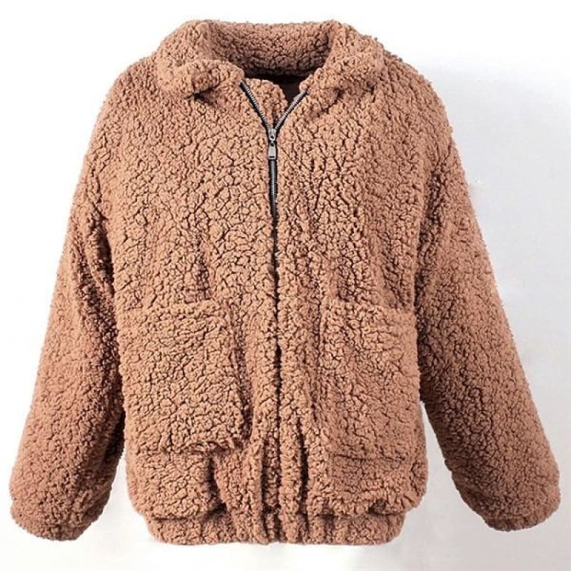 Women Thick Warm Fur Lambswool Jacket Autumn Winter Zipper Coat Turn-down Collar Pocket Casual - My Web Store Shopping