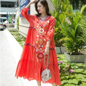 Load image into Gallery viewer, Women Vintage Floral Embroidered Long Dress V-Neck Ruffles Cotton Linen Boho Flowers Lantern Sleeved - My Web Store Shopping