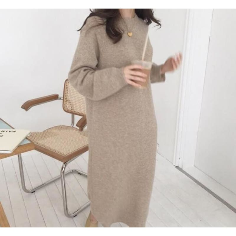 Long Sweater Dress Female Long Sleeve Straight oversized Knitted dresses round collar cozy - My Web Store Shopping
