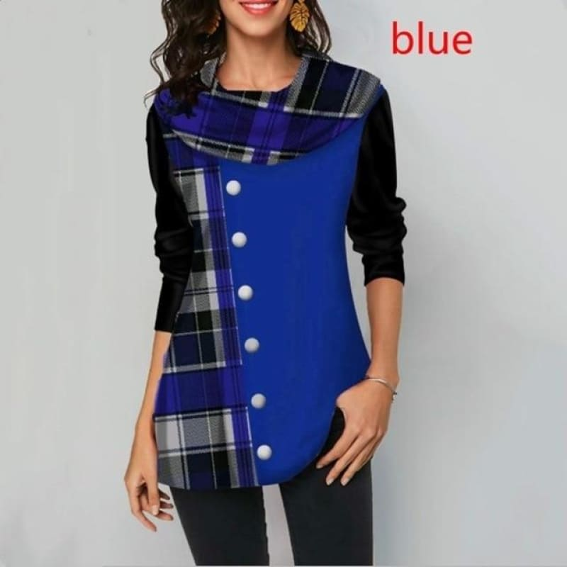 Women's tops Spring Stitching Plaid Button Decorate Long Sleeve T-Shirt Ladies Casual Loose Plus - My Web Store Shopping