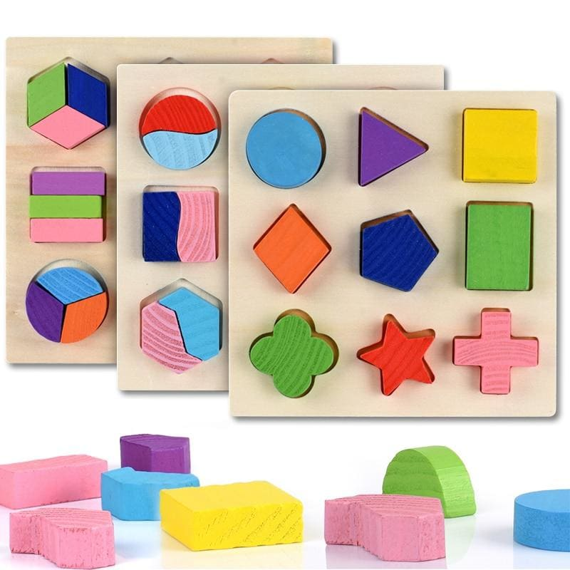 Wooden Geometric Shapes Montessori Puzzle Sorting Math Bricks Preschool Learning Educational Game - My Web Store Shopping