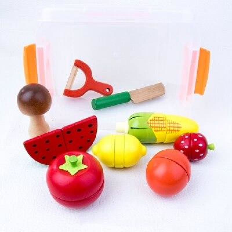 Load image into Gallery viewer, Wooden Kitchen Toys Pretend Play Kids Kitchen Set Cutting Magnetic Fruit Vegetable Miniature Food - My Web Store Shopping