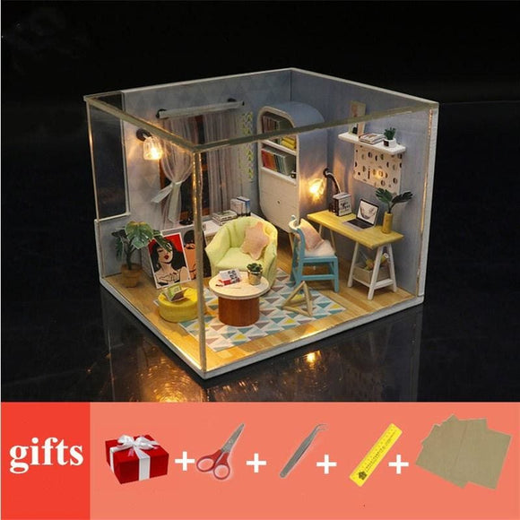 Wooden doll House furnitures kids diy dollhouse miniatures with LED light 3D kit birthday Gift - My Web Store Shopping