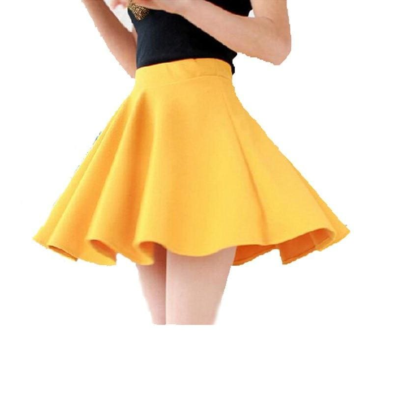 Hot Sexy Women Skirts Pleated Candy Colors High Waist Plain Skater Flared Casual Party Cotton Mini - My Web Store Shopping