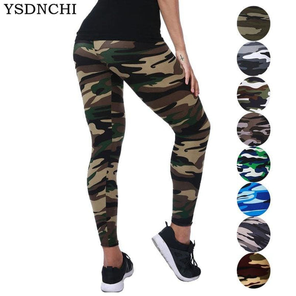 Camouflage Womens for leggings Graffiti Style Slim Stretch Trouser Army Green Leggings - My Web Store Shopping