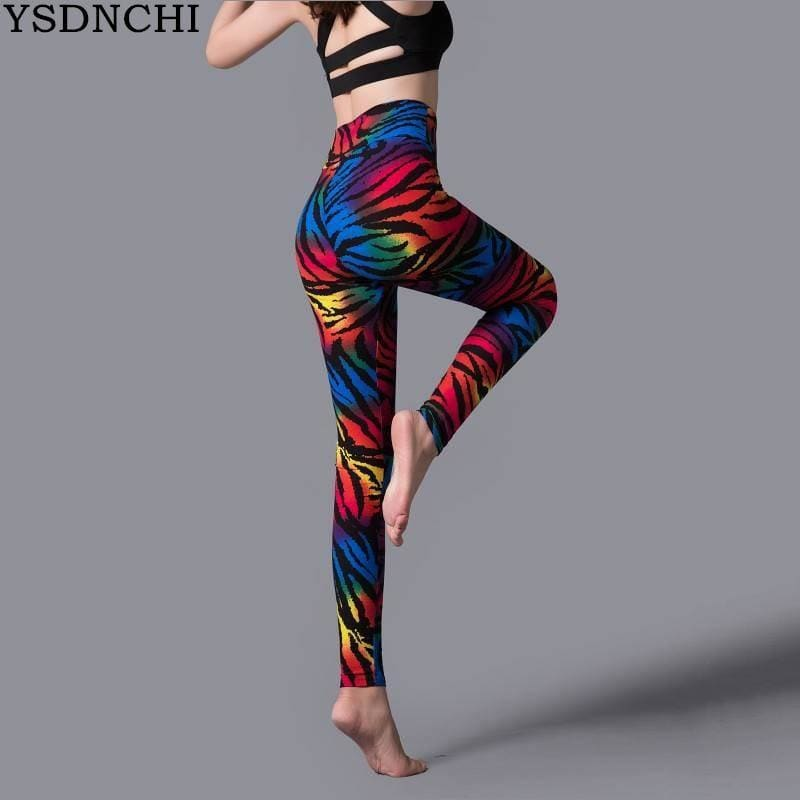 I New Stripe Leopard Print Leggings Women High Waist Legings Work Out Legging  Trousers Fitness - My Web Store Shopping