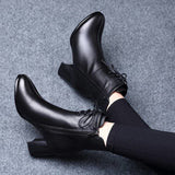 ankle women shoes woman leather short booties ladies black side zipper boots plush shoes female high - My Web Store Shopping