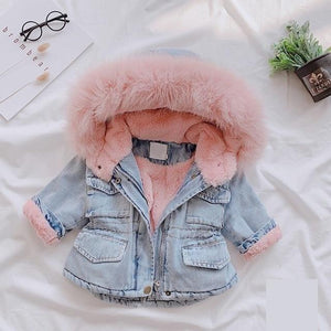 Baby Girls Winter Denim Jacket Thicken Warm Plus Velvet Windbreaker Outerwear - My Web Store Shopping