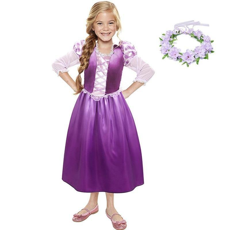 Girls Rapunzel Princess Cosplay Costume Kids Dress up Clothes Petal Sleeve Tangled Children - My Web Store Shopping