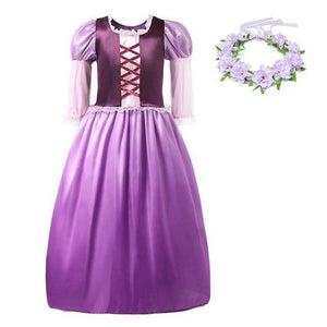 Load image into Gallery viewer, Girls Rapunzel Princess Cosplay Costume Kids Dress up Clothes Petal Sleeve Tangled Children - My Web Store Shopping