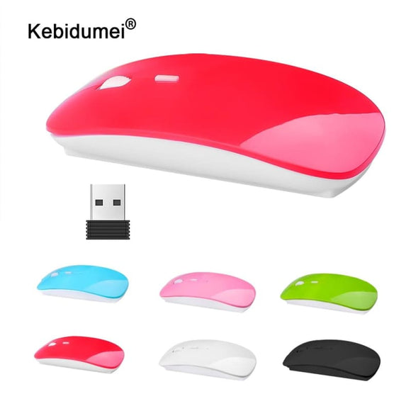 Wireless Mouse 2.4G Ultra Thin USB Optical Receiver Super Slim Mouse Cordless for Computer PC Laptop - My Web Store Shopping