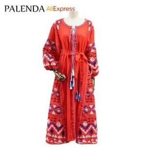 new bohemian embroidery kaftan dress women cotton handmade bandage belt on waist lantern sleeve wide - My Web Store Shopping