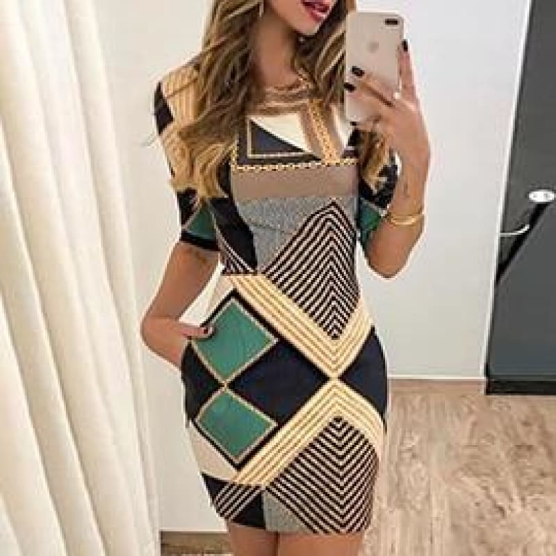 new elegant dress fashion print short-sleeved slim round neck dress ladies spring and autumn mini - My Web Store Shopping