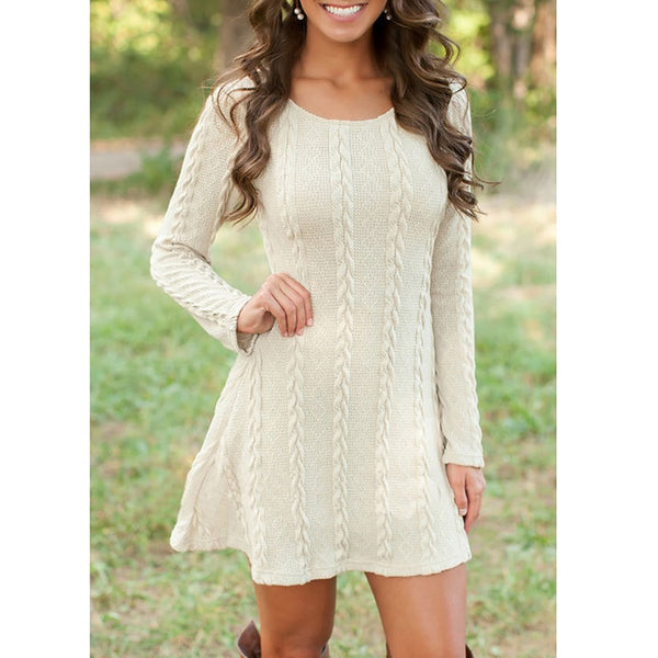 Women's Long Sleeve Knitted Sweater Dress