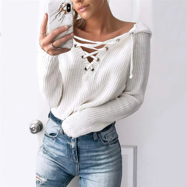 Women's Lace-Up Knitted Sweater