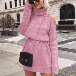 Women's Turtleneck Knitted Sweater Dress