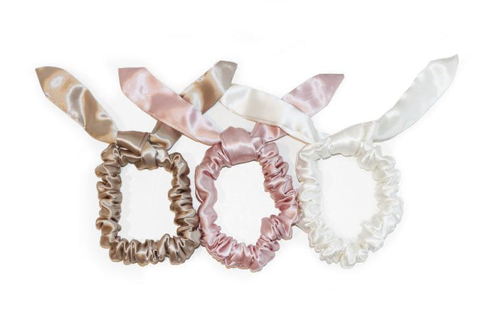 The bunny scrunchies - pink/caramel/white