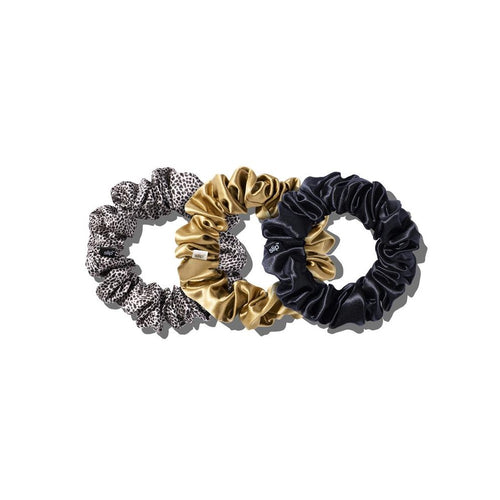 Slip scrunchies - black/gold/leopard