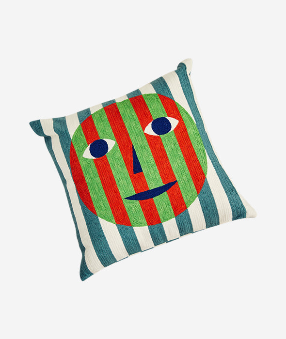 Face Embroidered Pillow Ferm Living - BEAM // Design Store