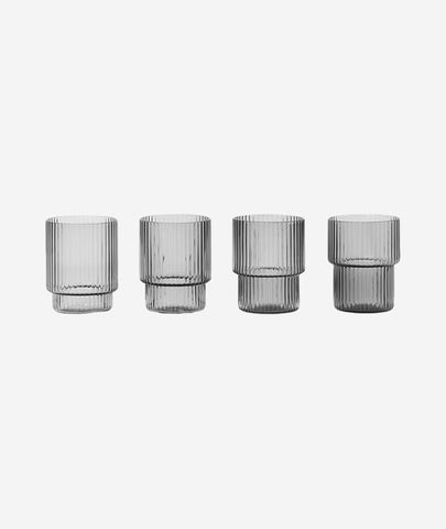 Ripple Small Glasses Smoked Grey Set/4 Ferm Living - BEAM // Design Store
