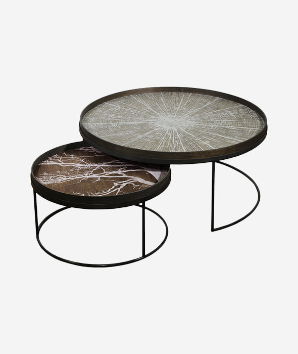 Round Tray Nesting Coffee Table Set/2 - 2 Sizes Ethnicraft - BEAM // Design Store