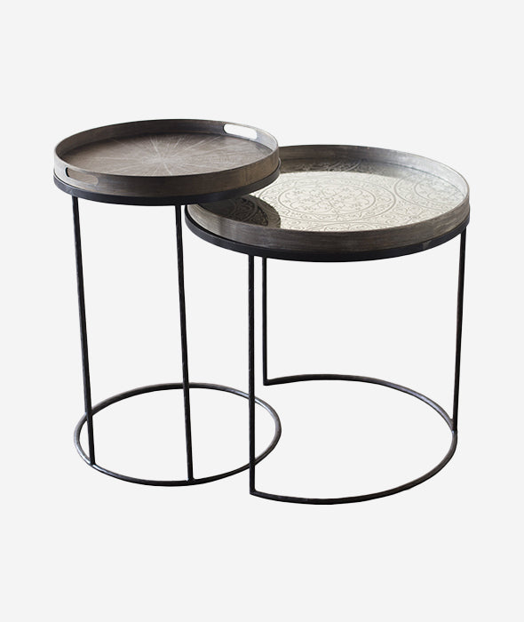 Round Tray Side Nesting Table Set/2 Ethnicraft - BEAM // Design Store