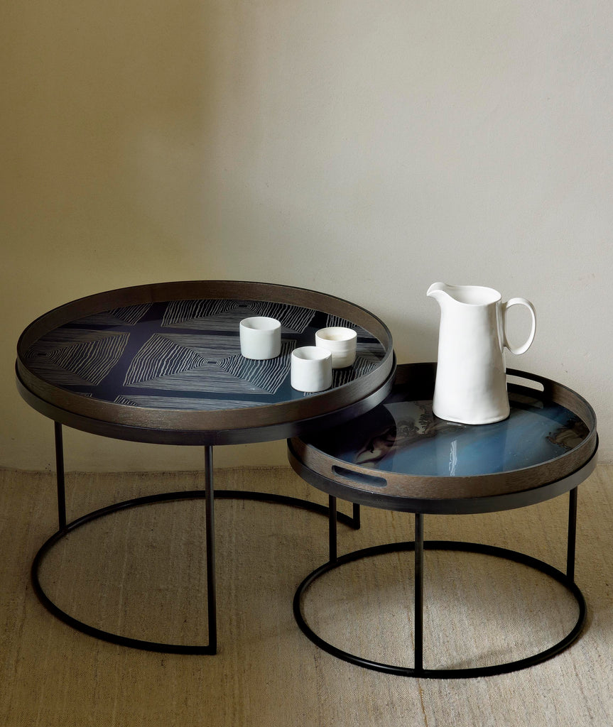 Round Tray Nesting Coffee Table Set/2 - 2 Sizes