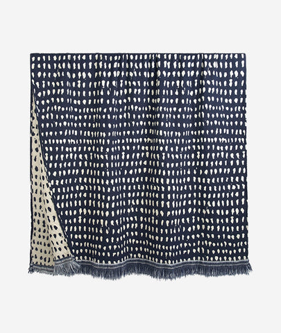 Navy Dots Reversible Throw