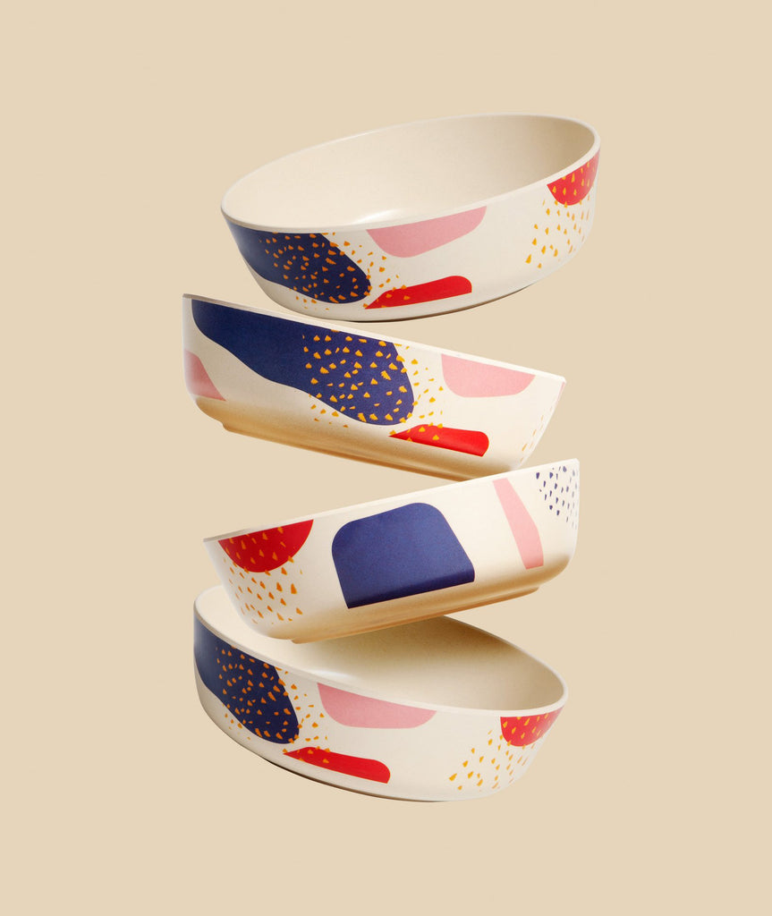 Dots + Marks Bamboo Bowl Set/4 Poketo - BEAM // Design Store