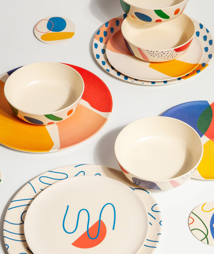 Doodles Bamboo Dinner Plate Set/4 Poketo - BEAM // Design Store