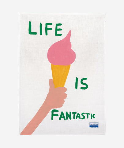 Life Is Fantastic x David Shrigley Tea Towel Third Drawer Down - BEAM // Design Store