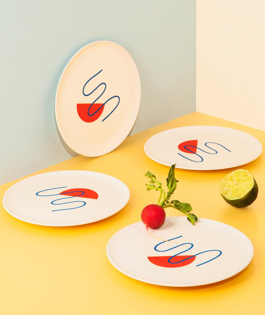 Doodles Bamboo Salad Plate Set/4 Poketo - BEAM // Design Store
