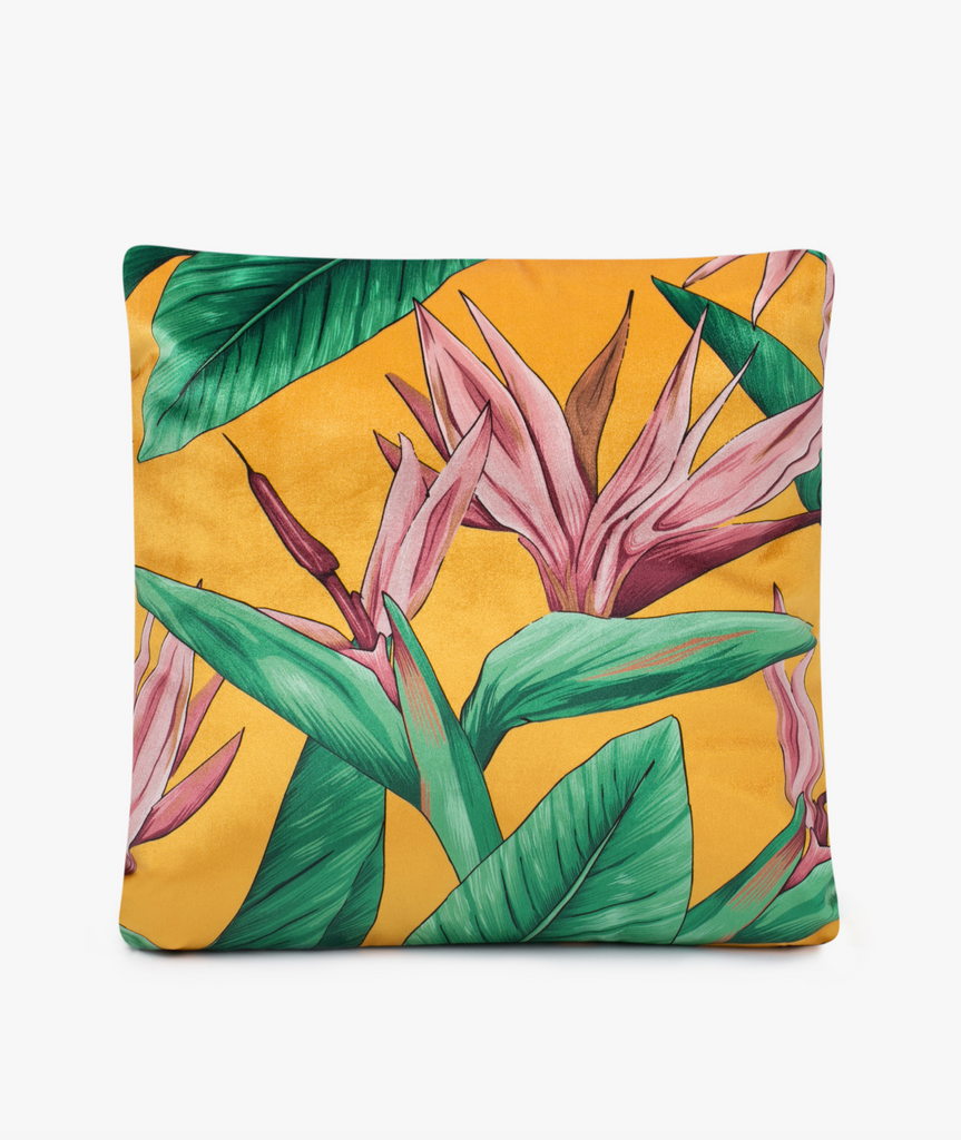 Velvet Bird of Paradise Pillow