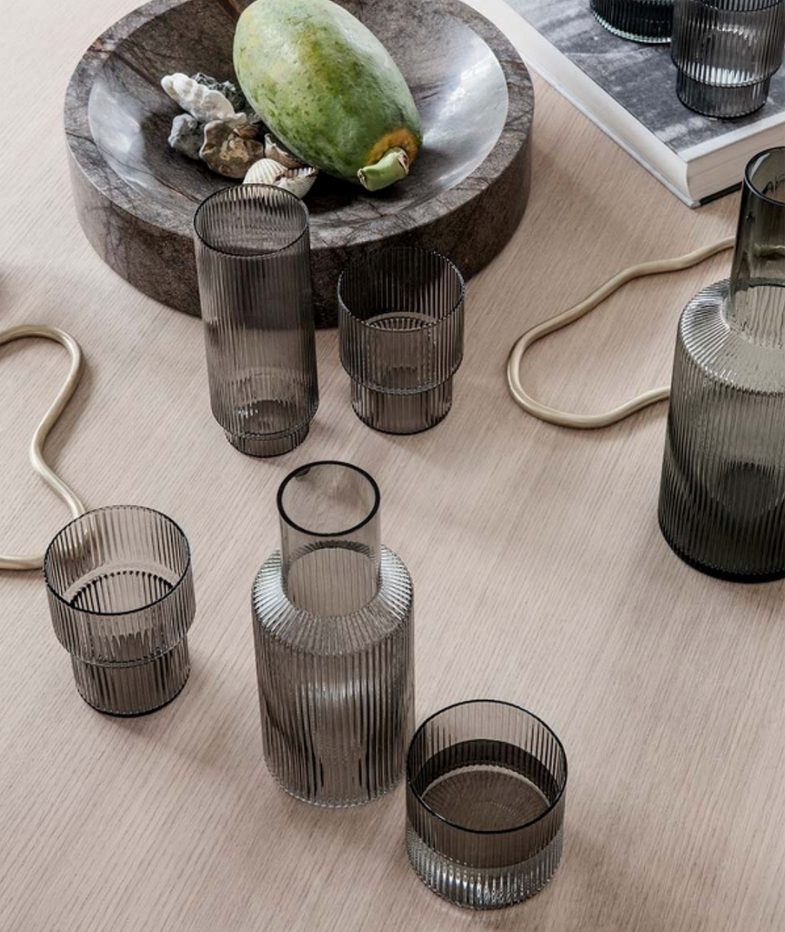 Ripple Glasses Smoked Grey Set/4 Ferm Living - BEAM // Design Store