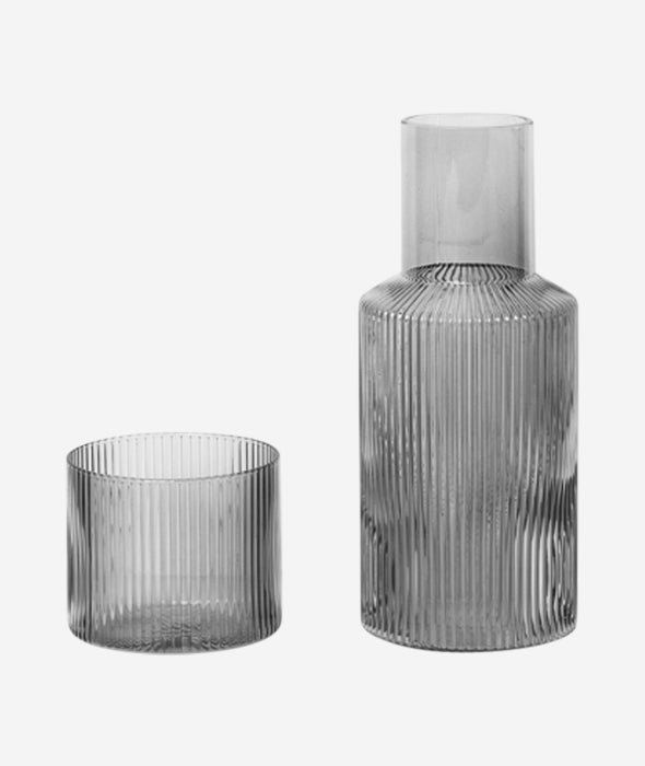 Ripple Mini Carafe Set Smoked Grey Ferm Living - BEAM // Design Store