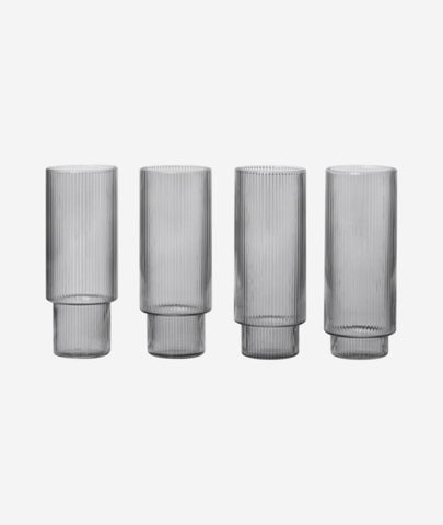 Ripple Long Drink Glasses Smoked Grey set/4 Ferm Living - BEAM // Design Store