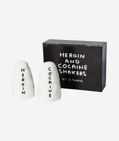 Heroin and Cocaine S+P Shakers x David Shrigley Third Drawer Down - BEAM // Design Store