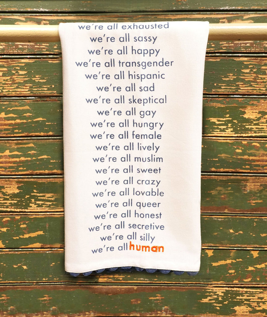 We're All Human Tea Towel