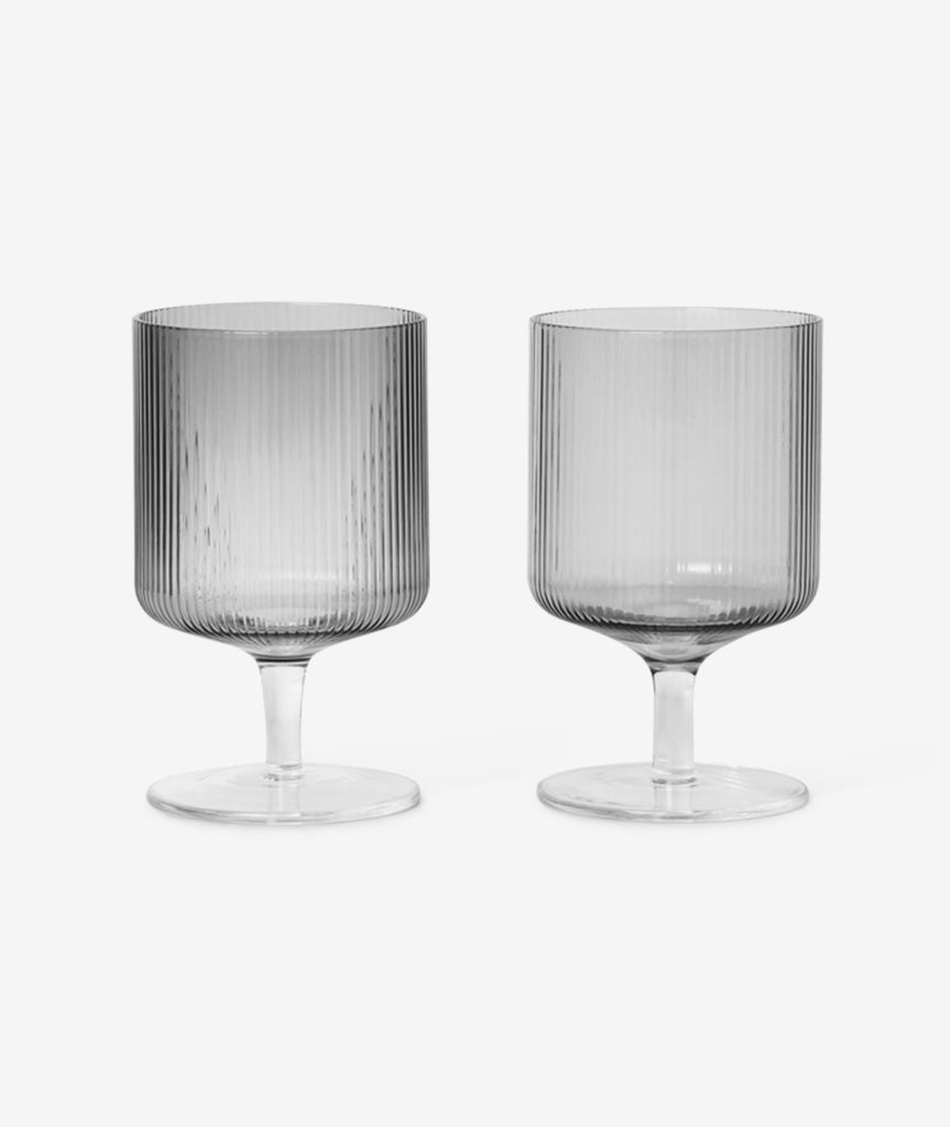 Ripple Wine Glass Smoked Grey Set/2 Ferm Living - BEAM // Design Store