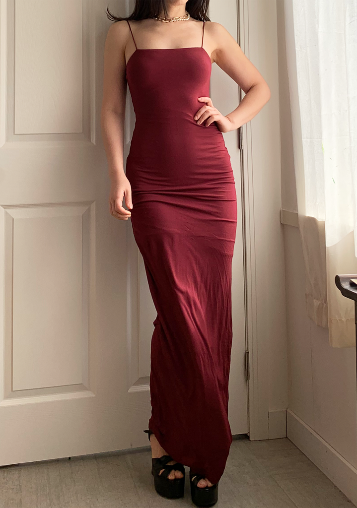 Burgundy Slip Maxi Dress