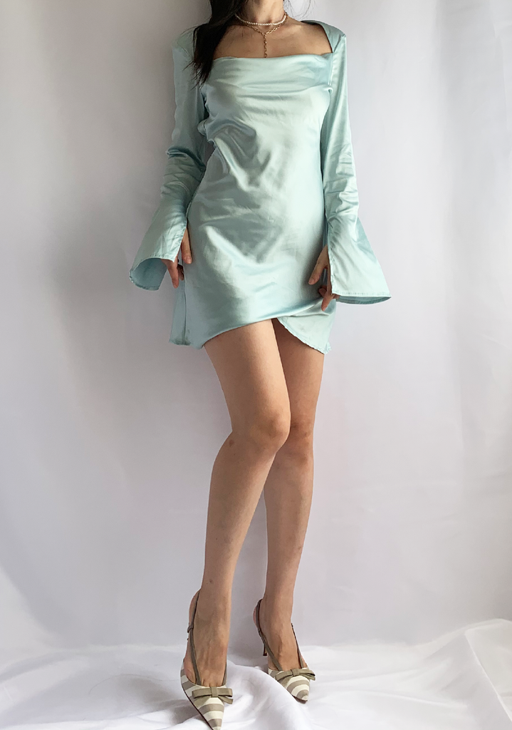 Sage Dreams Satin Long Sleeve Dress