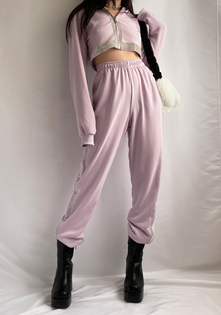 90's Taro Queen Rhinestone Hoddle Jogger Set