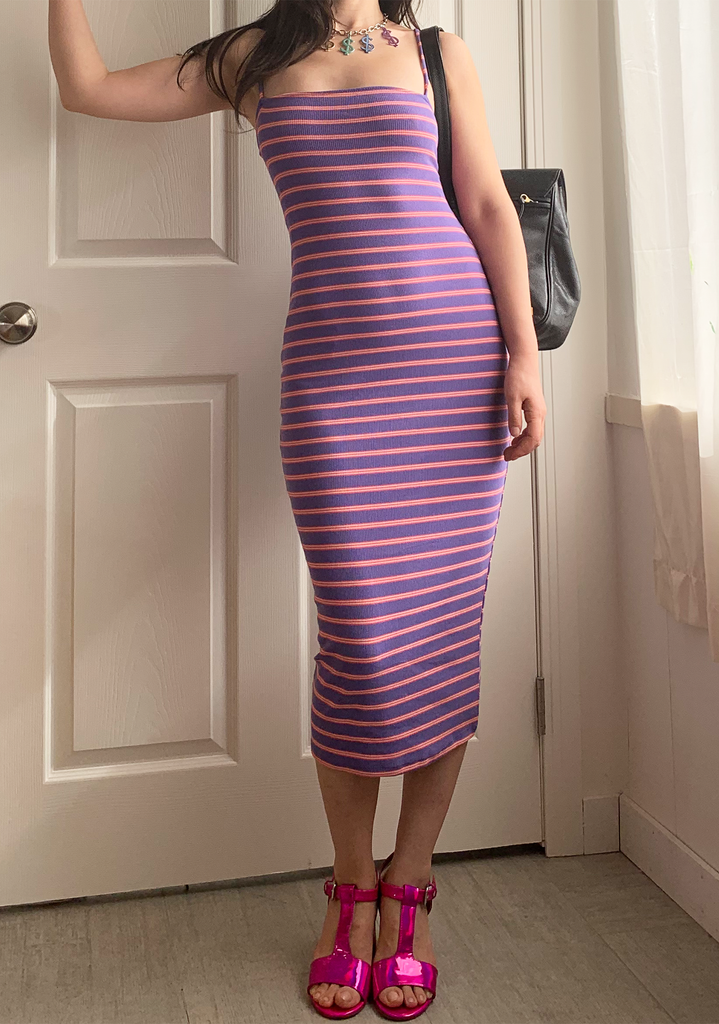 Purple Striped Slip Dress