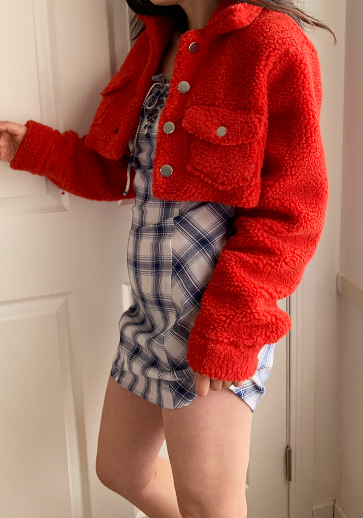 Red Cropped Teddy Jacket