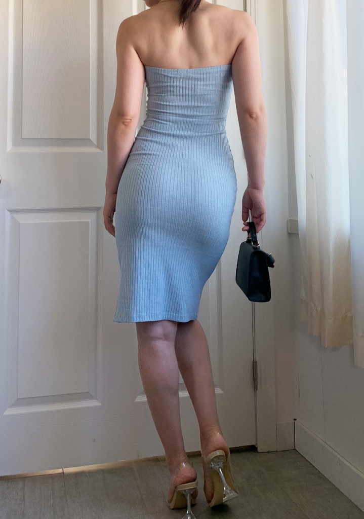Sky Blue Ribbed Tube Dress