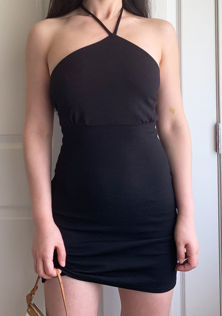 Rachel's Black Mini Slip Dress