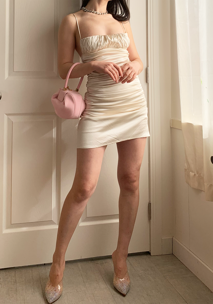 Champagne Cream Satin Slip Dress