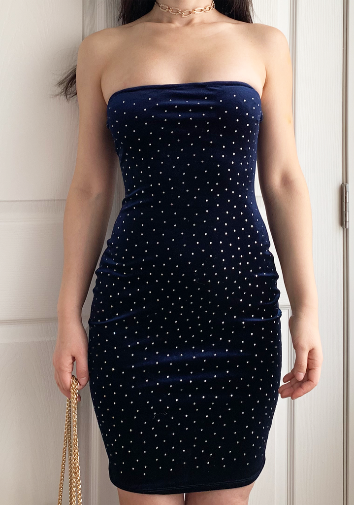 Starry Velvet Blue Tube Dress