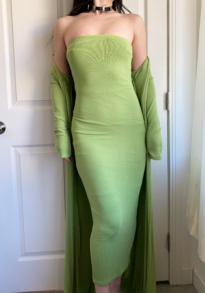Fresh Avocado Green Ribbed Maxi Cardigan $Tube Dress Sets