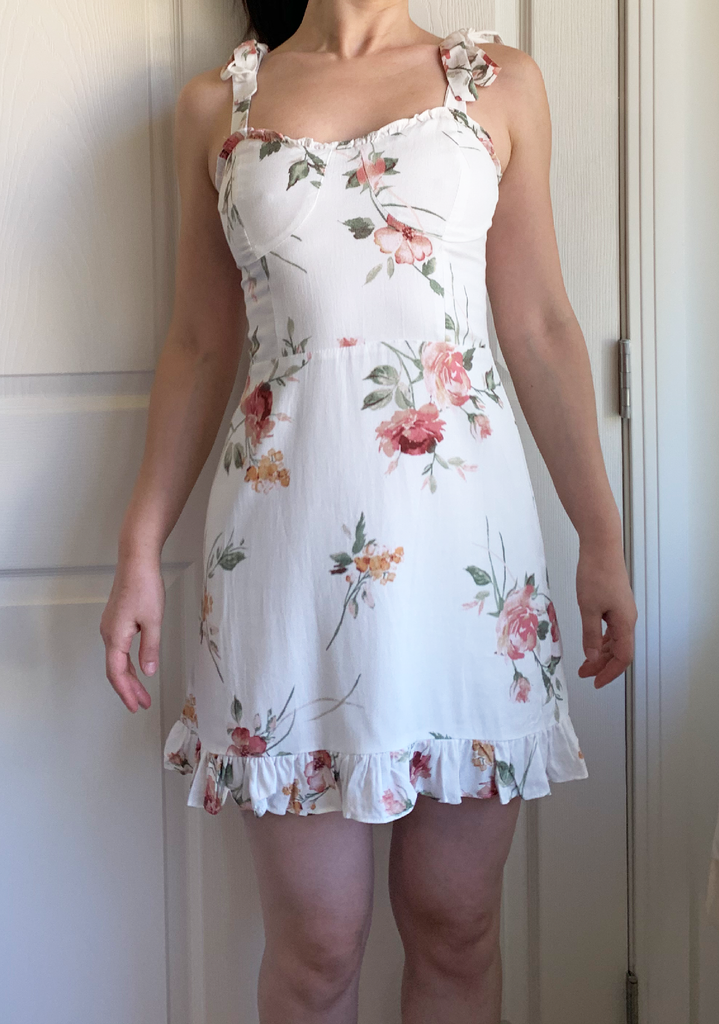 Sweetheart Classy White Floral Dress